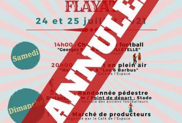 La Fête patronale du 24 et 25 juillet de Flayat est annulée.